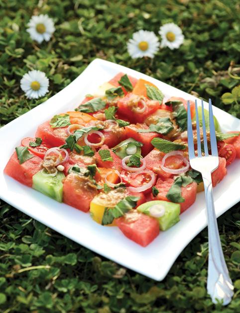 Trojfarebný šalát s melónom